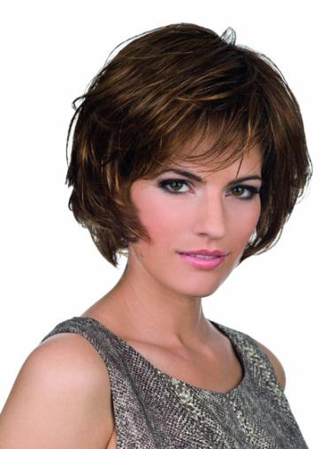 Wavy 6 Inches Chin Length No-Fuss Bob Cheap Synthetic Lace Front Wigs