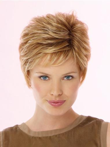 Synthetic Wavy Boycuts Short Blonde Lace Front Wig