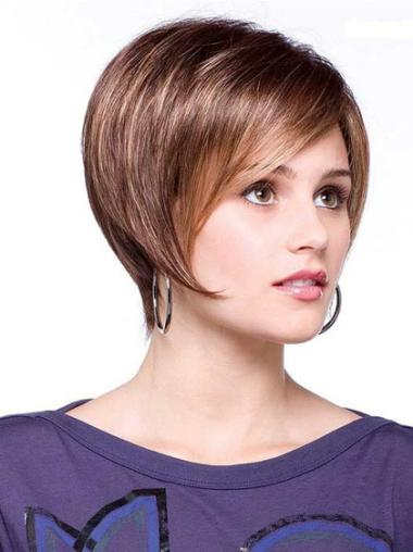 Straight Synthetic 6 Inches Discount Bob Lace Front Short Wigs