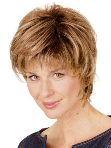 Synthetic Layered Blonde Popular Short Wigs For Elderly
