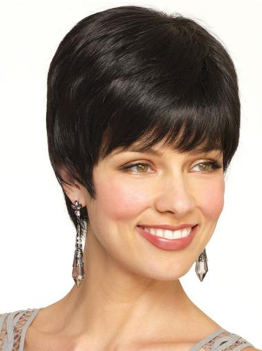 Straight Capless Boycuts Natural Human Hair Short Wigs