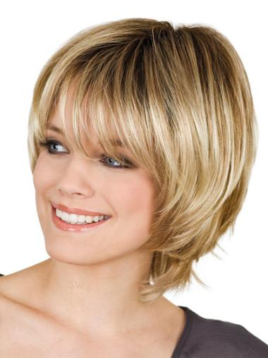 Cheap Chin Length Straight With Bangs Blonde Wigs Medium