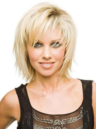 Designed Chin Length Synthetic Straight Layered Blonde Wigs Medium
