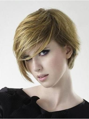Straight Capless Layered 100 Percent Human Hair Short Wig