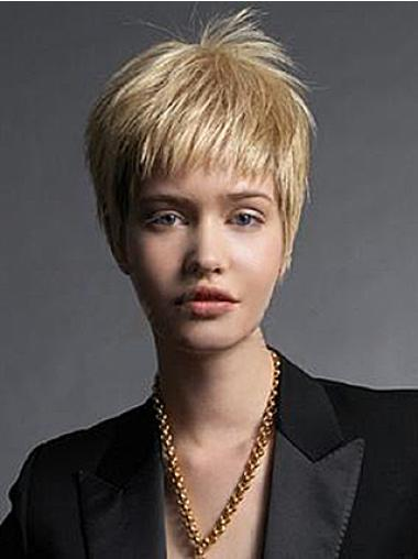 Straight Capless Boycuts Best Quality Human Hair Short Wig