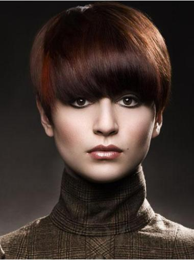 Auburn Trendy Short Human Hair Capless Wigs
