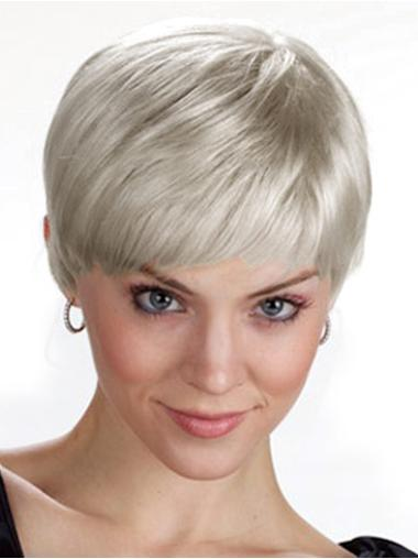 Comfortable Capless Straight Synthetic Wigs Silver Grey