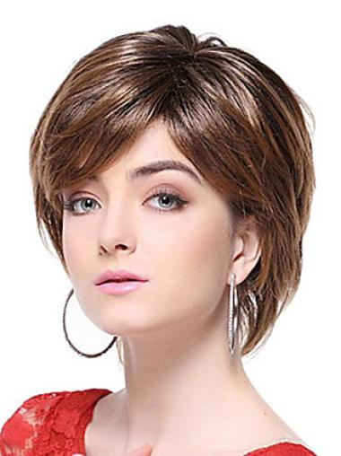 Fashionable Chin Length Straight With Bangs Medium Brown Wig
