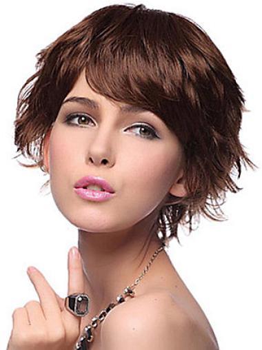 Convenient Synthetic Wavy Short Auburn Wig