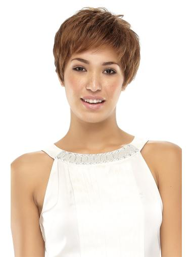 Idealwavy Cropped Brown Natural Looking Synthetic Lace Wigs