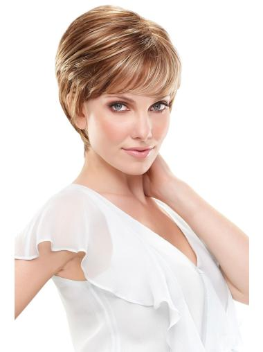 Straight Cropped Brown Glueless Synthetic Lace Front Wigs