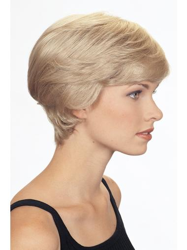 Fashion Capless Blonde Short Wigs For White People