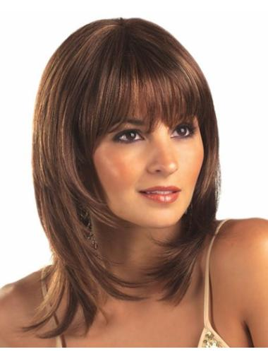Style Shoulder Length Synthetic Medium Brown Wig
