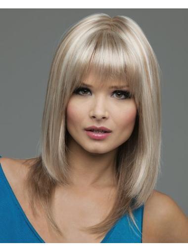 Shoulder Length Synthetic Good Medium Length Blonde Wig