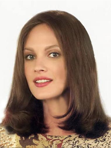 Shoulder Length Brown Without Bangs Straight Amazing Lace Front Remy Human Hair Wigs