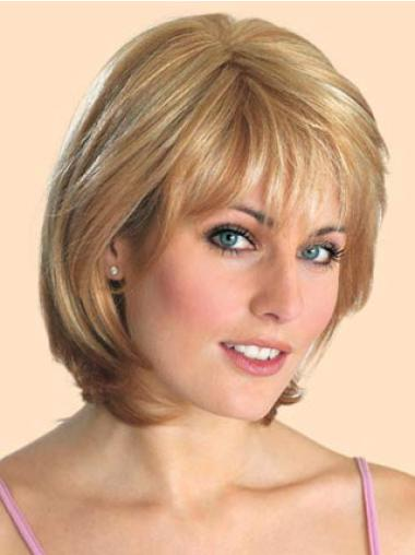 Suitable 10 Inches Straight Blonde Bob Lace Front Synthetic Wig