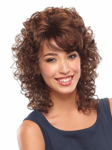 Fashion Shoulder Length Auburn Classic Curly Lace Front Wigs