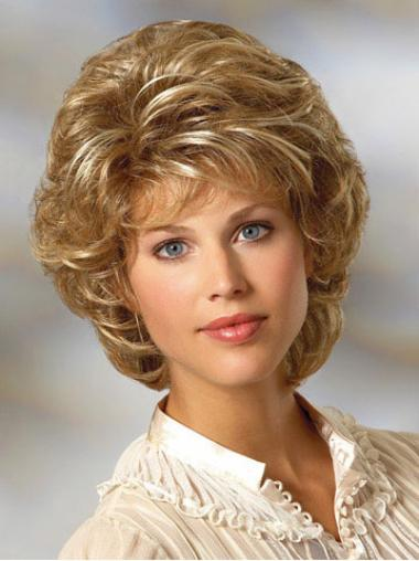 Curly Chin Length Blonde Classic Short Synthetic Hair Wigs