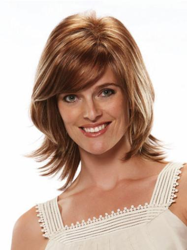 Straight Capless With Bangs Auburn Medium Length Synthetic Wig