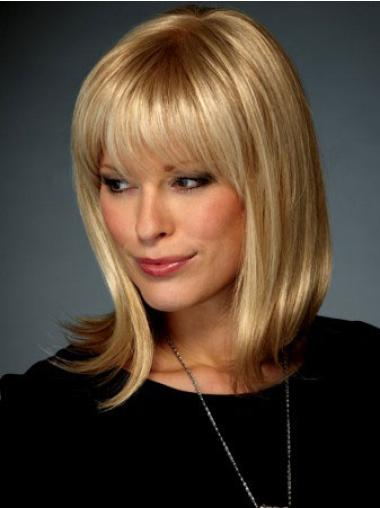 Lace Front Blonde Cheap Medium Length Synthetic Wig