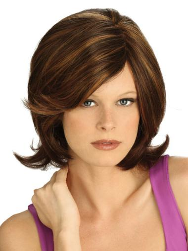Lace Front With Bangs Synthetic Medium Brown Wig
