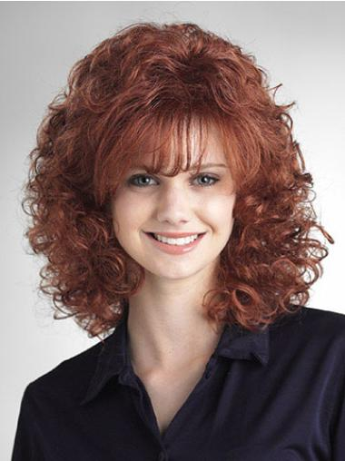 Flexibility Auburn Classic Medium Curly Wigs Synthetic