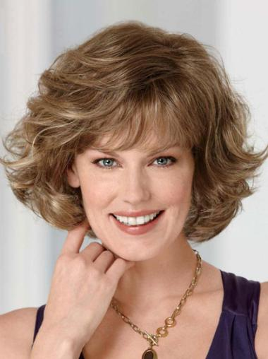 Synthetic With Bangs Brown Elderly Lady Real Looking Lace Front Wigs