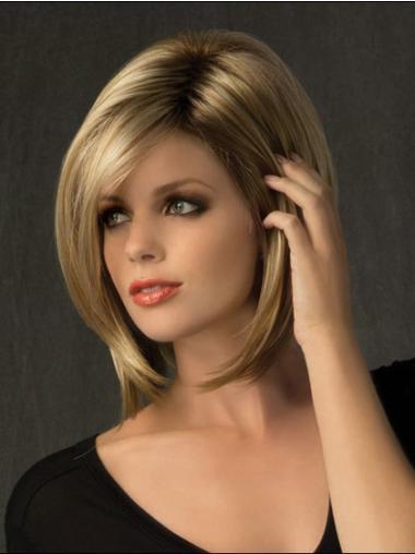 Capless Chin Bobs Blonde Synthetic Medium Length Wigs Cheap