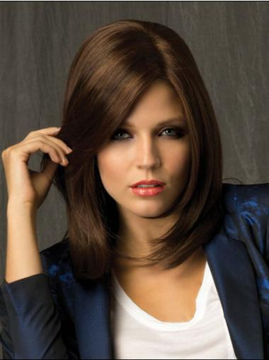 Shoulder Length Synthetic Hairstyles Medium Brown Wig