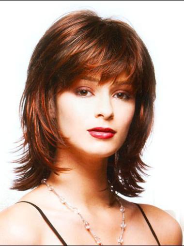 Stylish Shoulder Length Synthetic Medium Auburn Wigs
