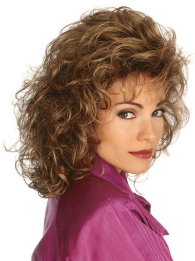 Durable Curly Shoulder Length Brown Classic Realistic Synthetic Wigs