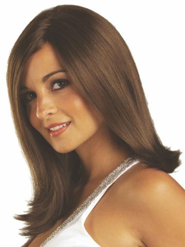 Great Shoulder Length Synthetic Medium Brown Wig