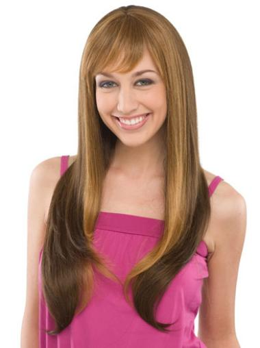 Brown With Bangs Straight Fashionable Wig Long Human Hair