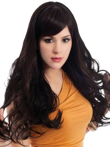 Wavy Lace Front Synthetic Convenient Long Wigs With Bangs