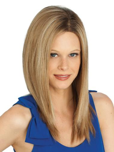 Lace Front Without Bangs Straight Synthetic Gorgeous Blonde Long Wigs