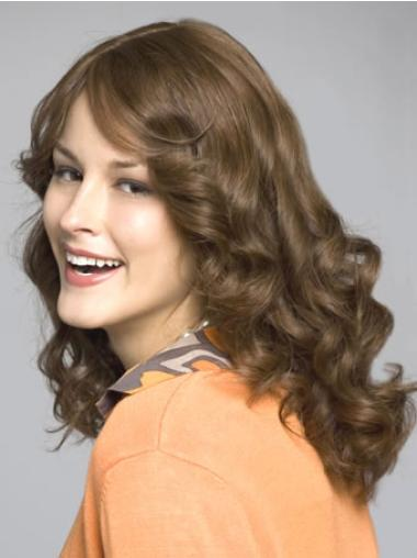 Long Brown Layered Wavy Sassy Inexpensive Lace Front Human Hair Wigs