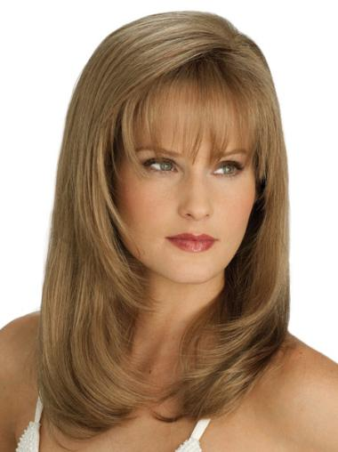 Lace Front With Bangs Straight Synthetic Suitable Blonde Long Wigs