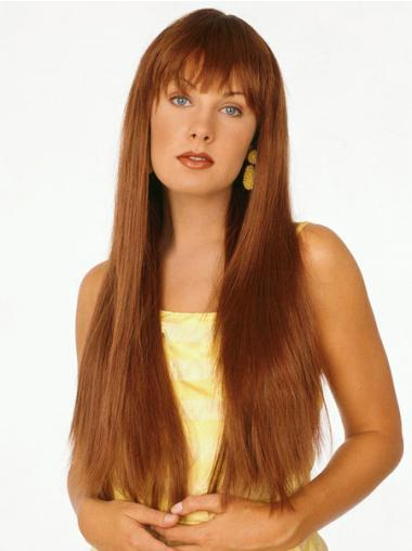 With Bangs Straight Fashion Long Auburn Wig