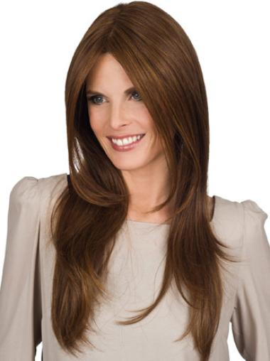 Synthetic Without Bangs Brown Amazing Long Wigs