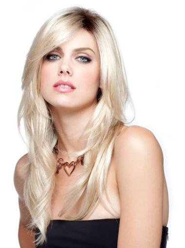 Blonde With Bangs Straight Online Long Synthetic Lace Wigs