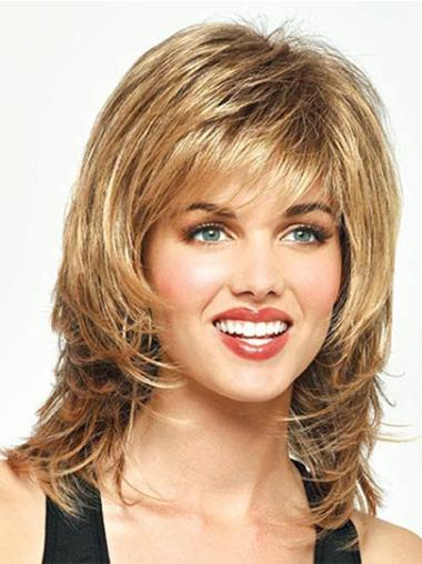 Hairstyles Straight With Bangs Capless Medium Length Blonde Wig