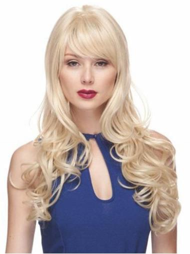 Blonde With Bangs Top Wavy Long Hair Wig
