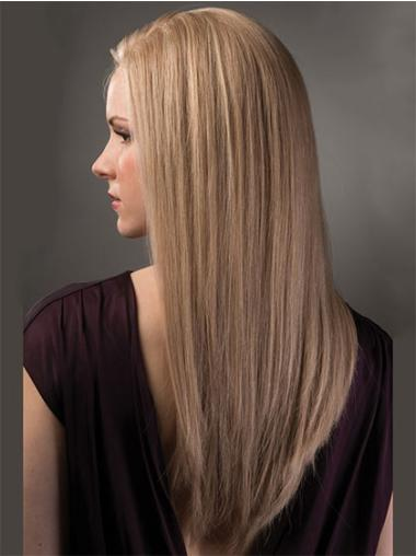 Long Without Bangs Straight Lace Front Cheap Human Hair Wigs Blonde