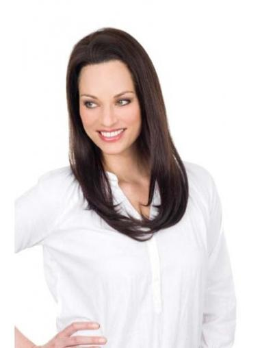 """Beautiful Long 20"""" Without Bangs Straight Human Hair Wig Lace Front Natural"""