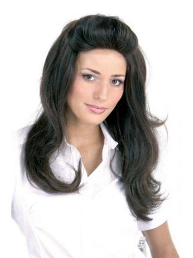 """Designed Long 20"""" Without Bangs Human Hair Straight Lace Front Wigs"""