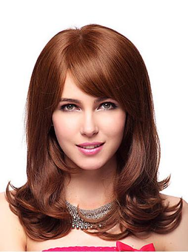 Durable Wavy With Bangs Capless Wigs Medium Length Style