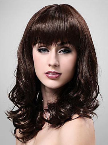 Great Wavy With Bangs Capless Wigs Medium Length Hair
