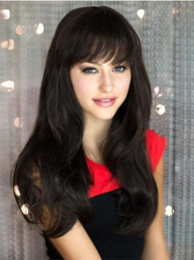 Black Capless With Bangs Straight Perfect Long Human Hair