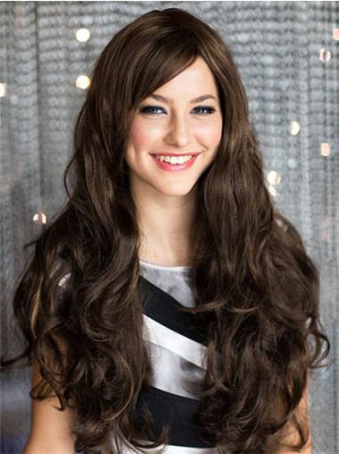 Brown With Bangs Wavy Gorgeous Long Human Hair
