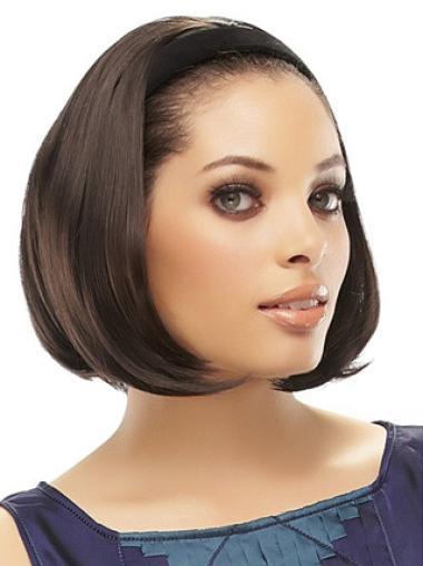 Fashion Capless Straight Half Human Hair Wig